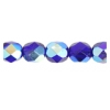 Fire Polished 7mm Transparent Cobalt Blue Aurora Borealis